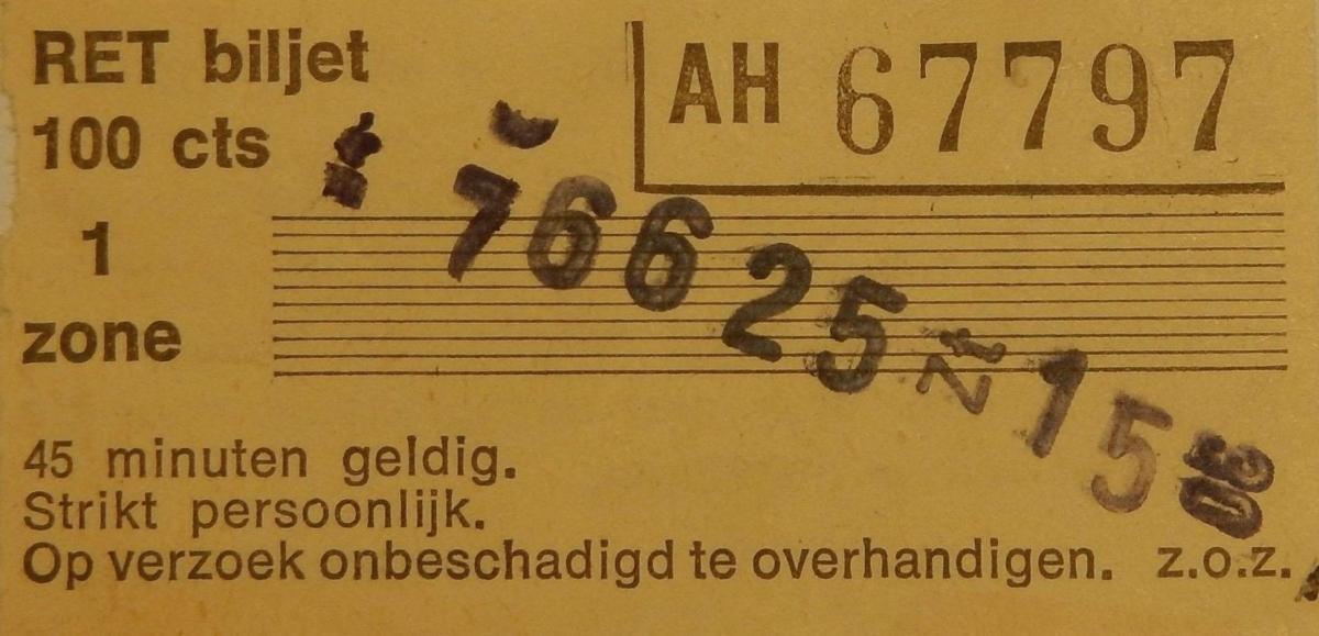 RET 1977 biljet 100 cts 1 zone klein -a