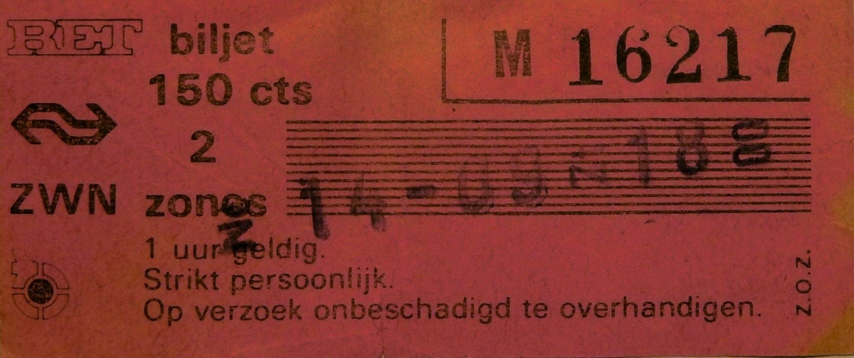 RET 1977 biljet 150 cts 2 zones combi (251) -a