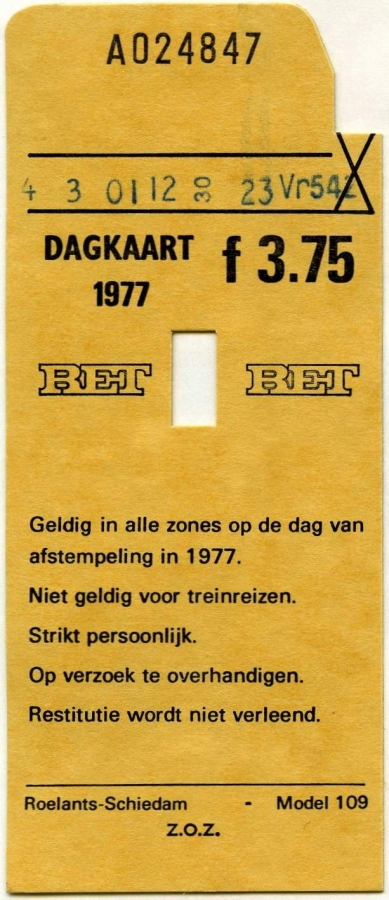 RET 1977 dagkaart 3,75 (109) -a
