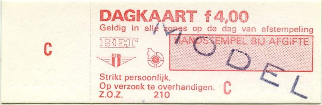 RET 1977 dagkaart alle zones 4,00 wagenverkoop (210) -a