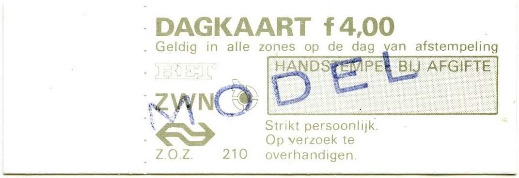 RET 1977 dagkaart alle zones 4,00 wagenverkoop (210-) -a