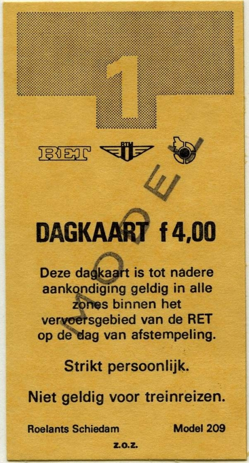 RET 1977 dagkaart gehele vervoersgebied 4,00 voorverkoop (209) -a