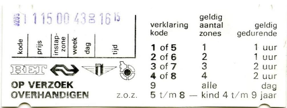 RET 1977 enkele reis automaatverkoop 1,15 -a