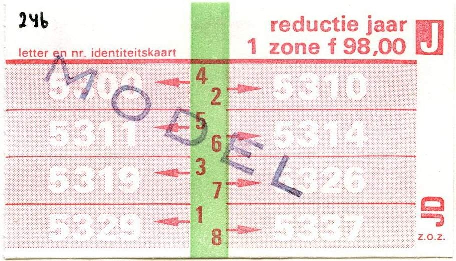 RET 1977 jaarkaart 1 zone reductie 98,00 -a