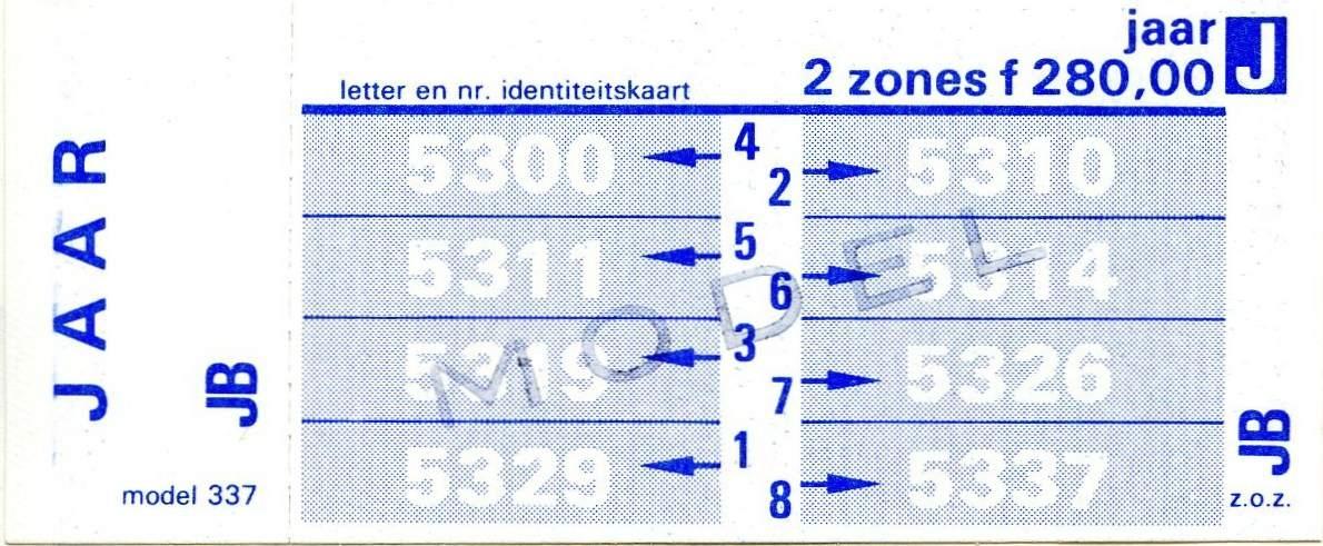 RET 1977 jaarkaart 2 zones 280,00 (337) -a