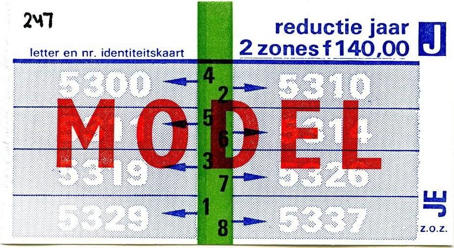 RET 1977 jaarkaart 2 zones reductie 140,00 -a