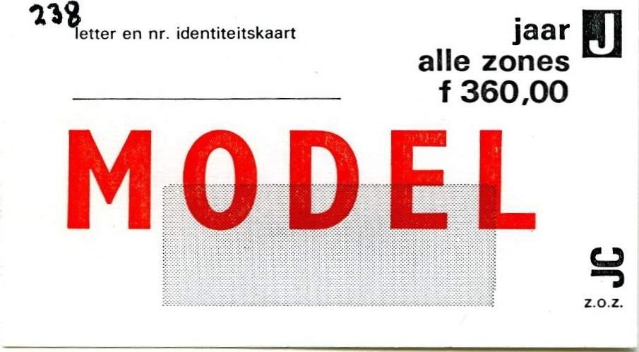 RET 1977 jaarkaart alle zones 360,00 -a