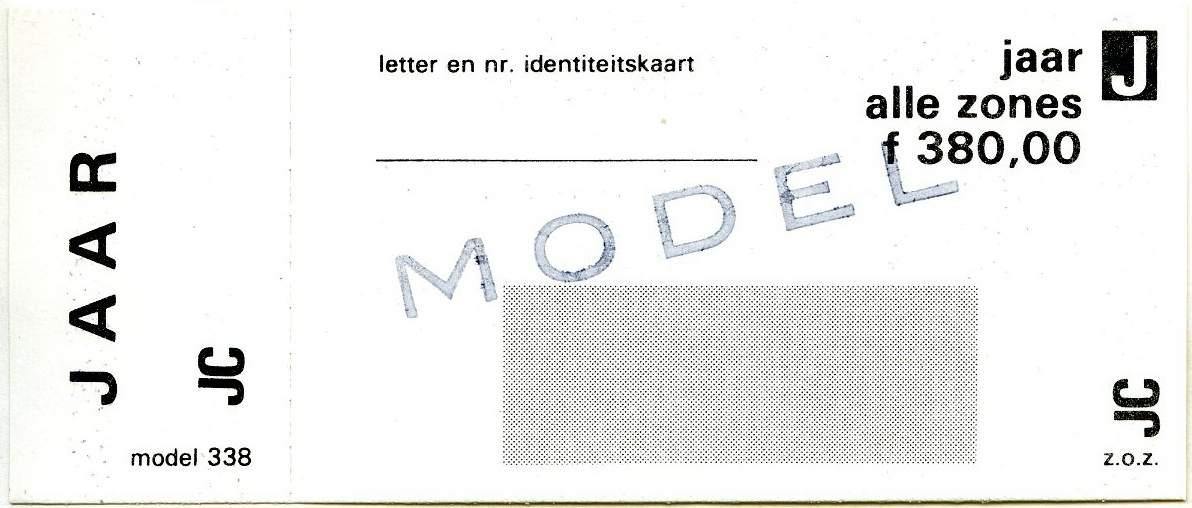 RET 1977 jaarkaart alle zones 380,00 (338) -a