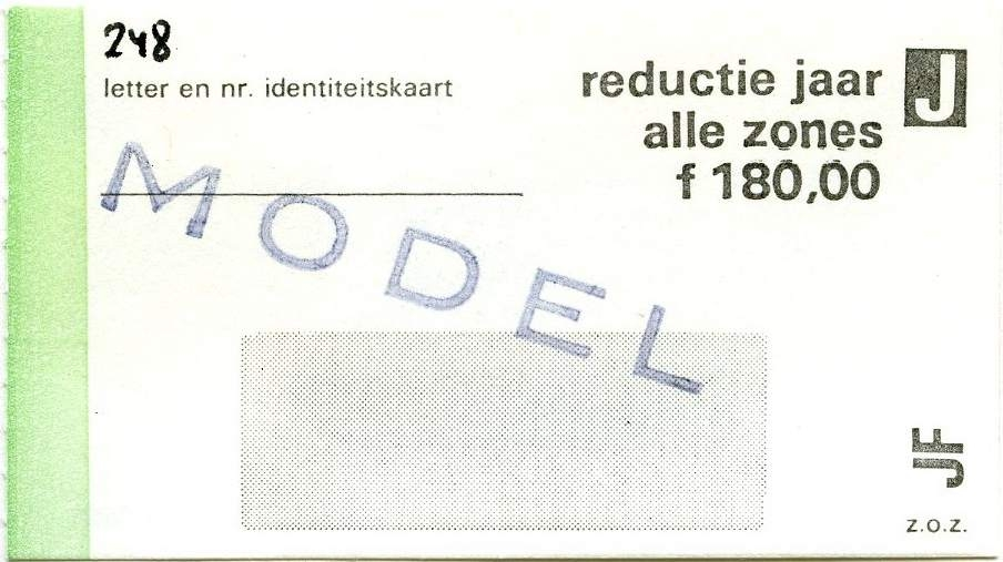 RET 1977 jaarkaart alle zones reductie 180,00 -a