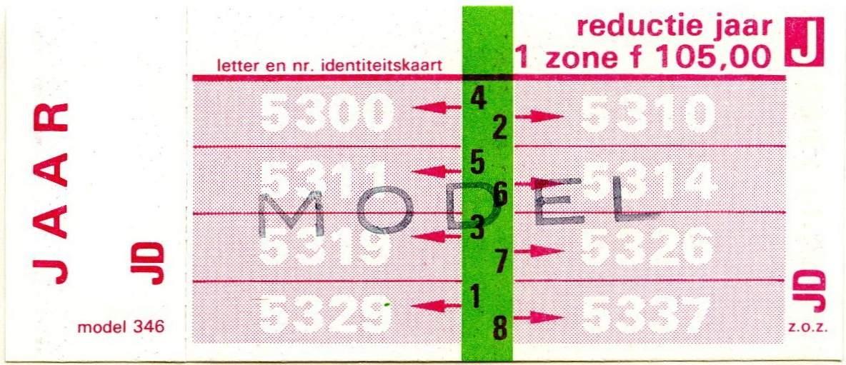 RET 1977 jaarkaart reductie 1 zone 105,00 (346) -a