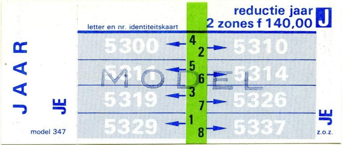 RET 1977 jaarkaart reductie 2 zones 140,00 (347) -a