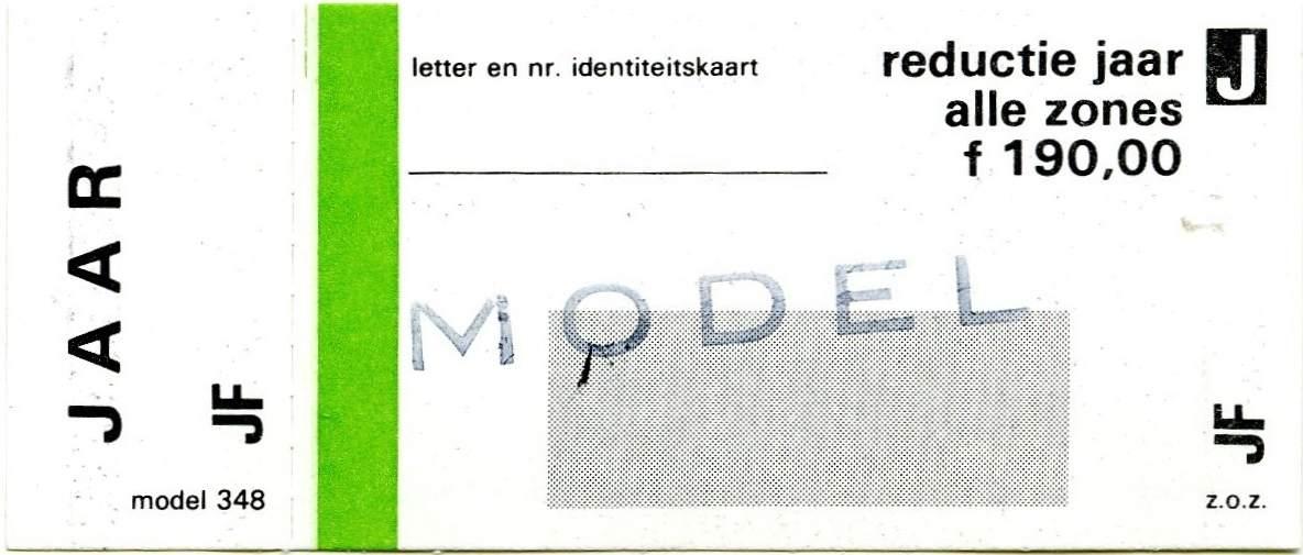 RET 1977 jaarkaart reductie alle zones 190,00 (348) -a