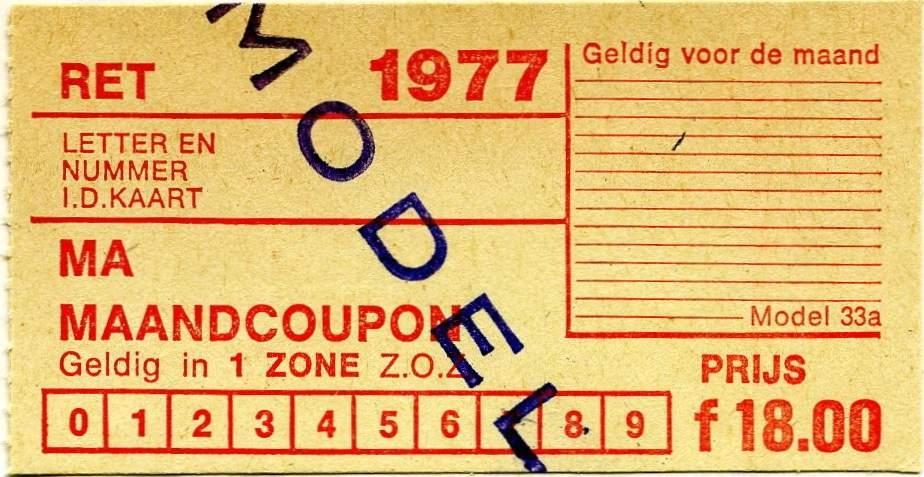RET 1977 maandcoupon 1 zone 18,00 (33a) -a