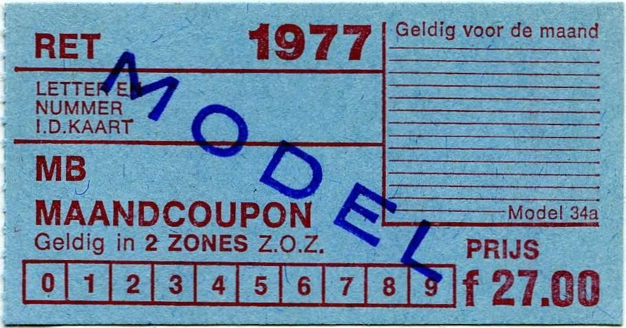 RET 1977 maandcoupon 2 zones 27,00 (34a) -a