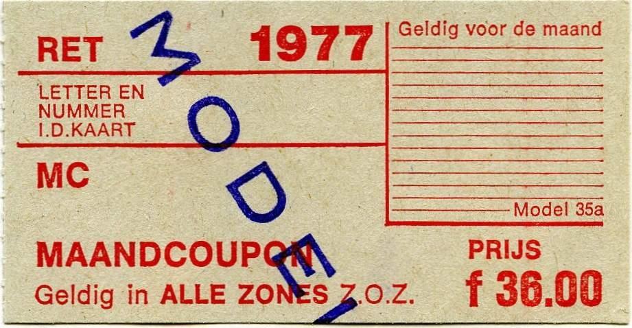 RET 1977 maandcoupon alle zones 36,00 (35a) -a