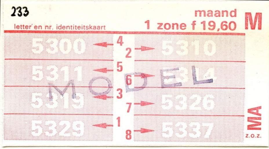 RET 1977 maandkaart 1 zone 19,60 -a