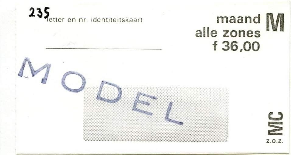 RET 1977 maandkaart alle zones 36,00 -a
