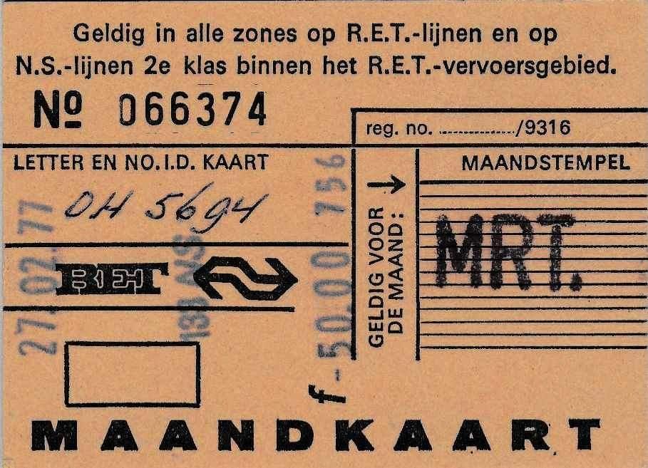 RET 1977 maandkaart alle zones NS-model 50,- (0874) (BIC9655) -a