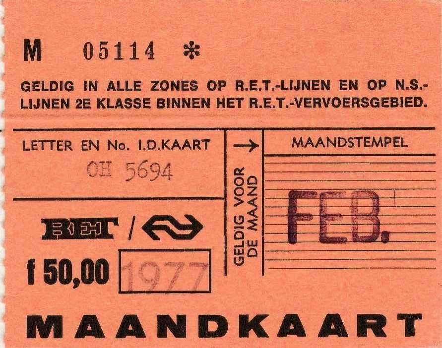 RET 1977 maandkaart alle zones RET-model 50,-- (327) -a