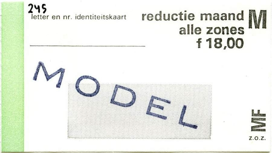 RET 1977 maandkaart alle zones reductie 18,00 -a