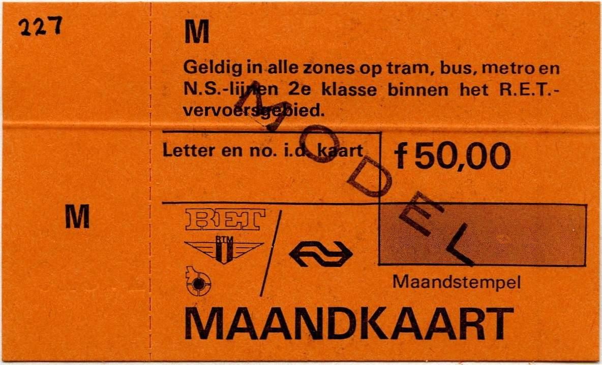 RET 1977 maandkaart alles zones RET-RTM vervoersgebied 50,00 -a