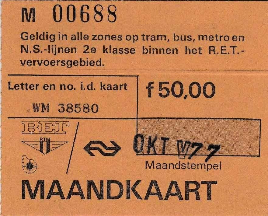 RET 1977 maandkaart oktober alle zones 50,00 RET-RTM (227) -a