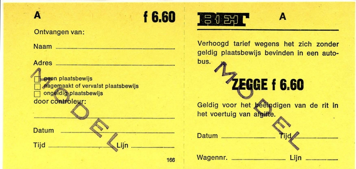 RET 1977 plaatsbewijs verhoogd tarief 6,60 -a