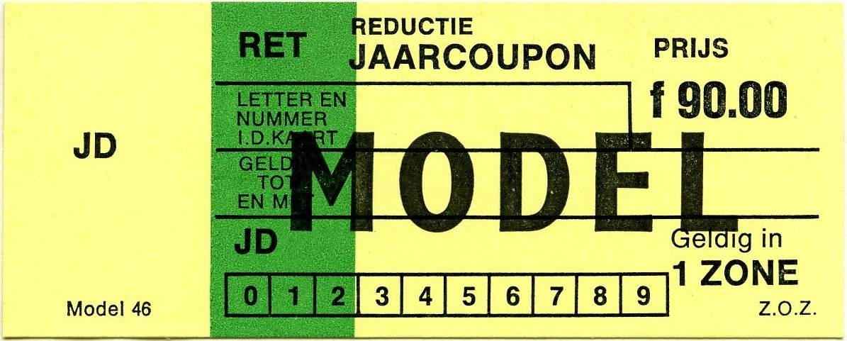 RET 1977 reductie jaarcoupon 1 zone 90,00 (46) -a