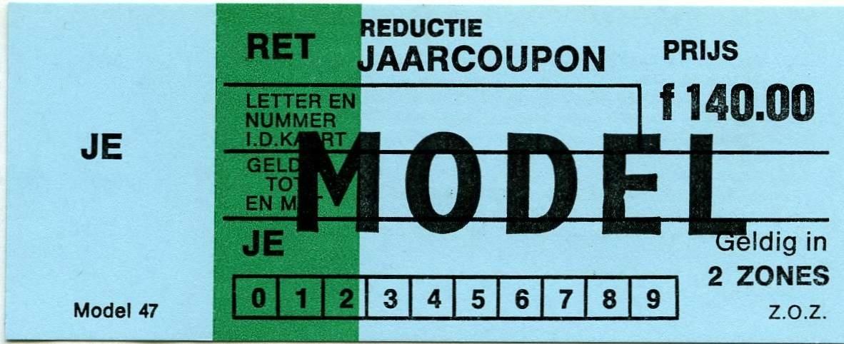 RET 1977 reductie jaarcoupon 2 zones 140,00 (47) -a