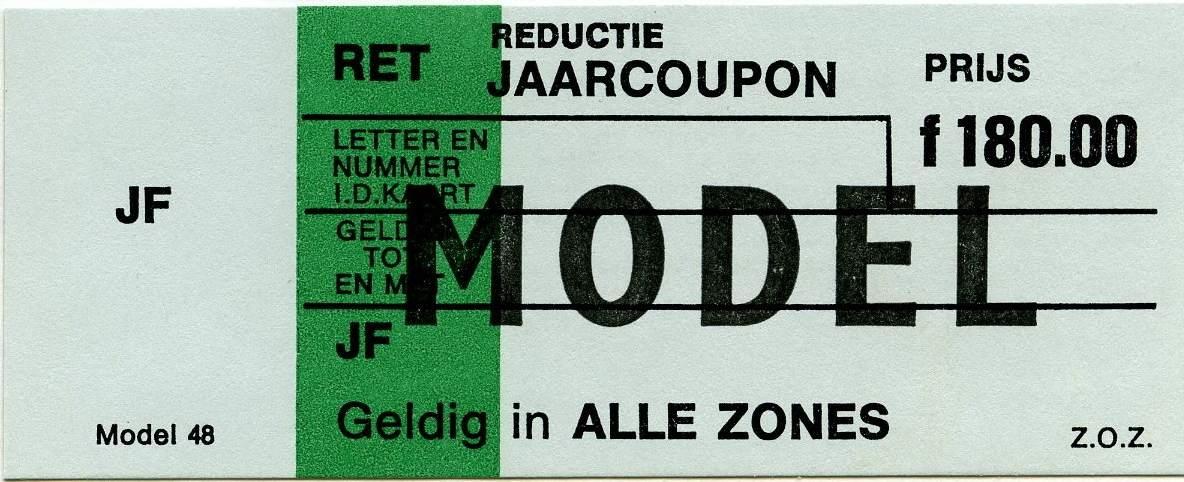RET 1977 reductie jaarcoupon alle zones 180,00 (48) -a