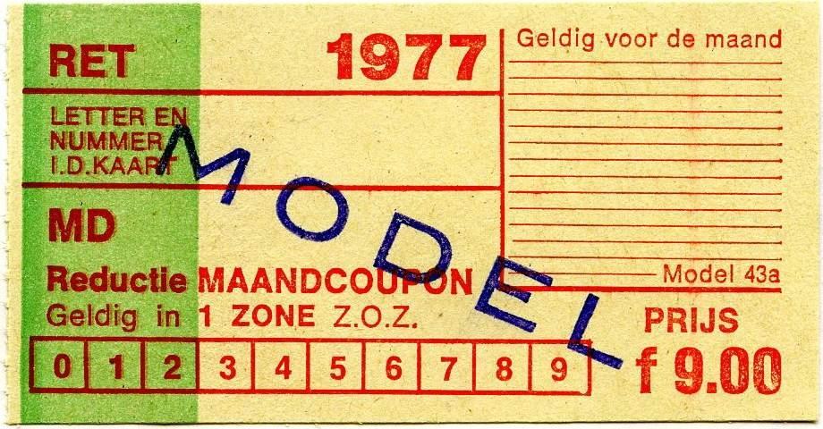 RET 1977 reductie maandcoupon 1 zone 9,00 (43a) -a