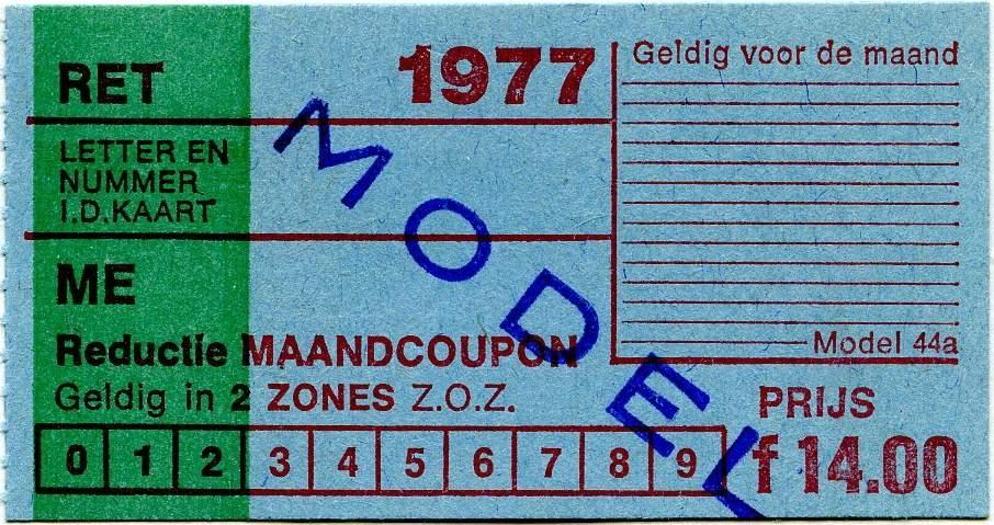 RET 1977 reductie maandcoupon 2 zones 14,00 (44a) -a