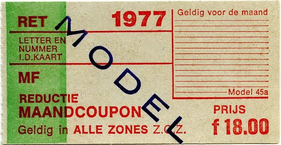 RET 1977 reductie maandcoupon alle zones 18,00 (45a) -a
