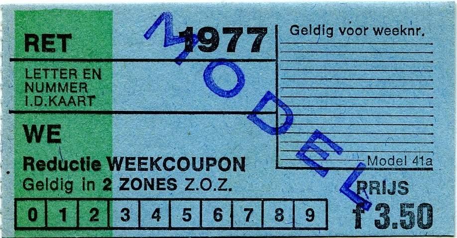 RET 1977 reductie weekcoupon 2 zones 3,50 (41a) -a