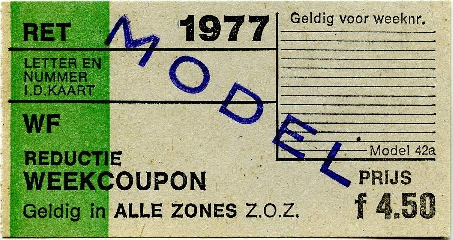 RET 1977 reductie weekcoupon alle zones 4,50 (42a) -a