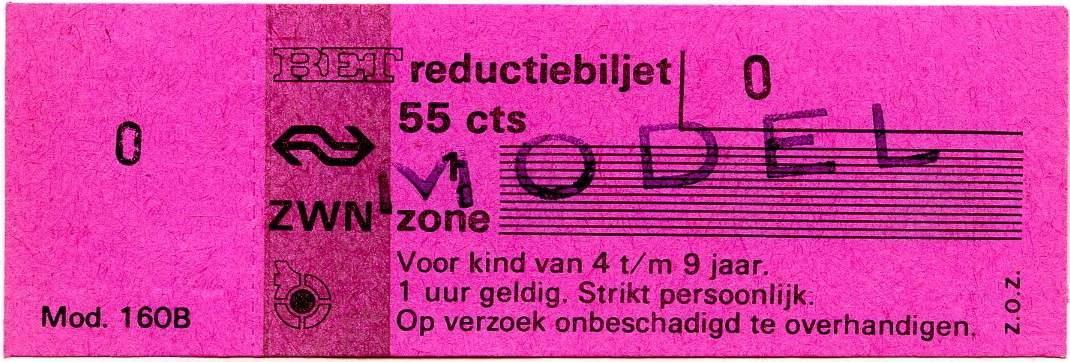 RET 1977 reductiebilet 1 zone 55 cts (160B) -a