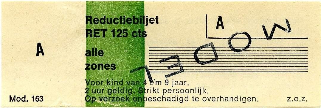 RET 1977 reductiebilet alle zones 125 cts (163) -a