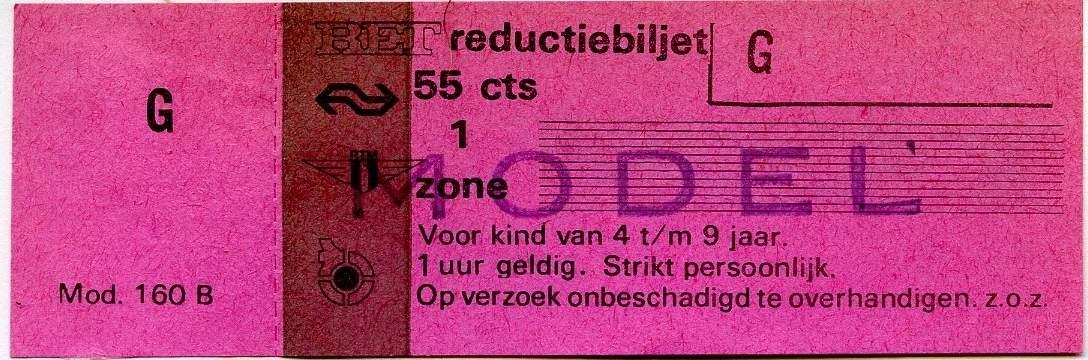 RET 1977 reductiebiljet 1 zone 55 cts (160B) -a