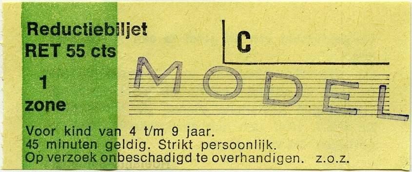 RET 1977 reductiebiljet 1 zone 55 cts -a