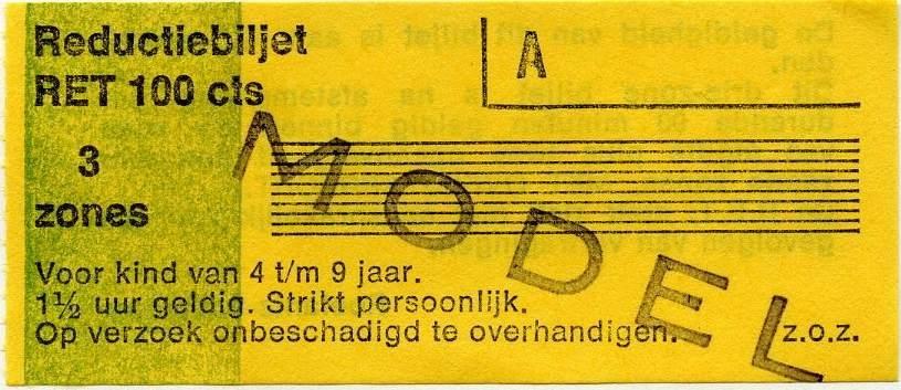 RET 1977 reductiebiljet 3 zones 100 cts -a