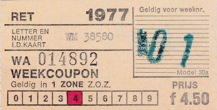 RET 1977 weekcoupon 1 zone 4,50 (30A) -a