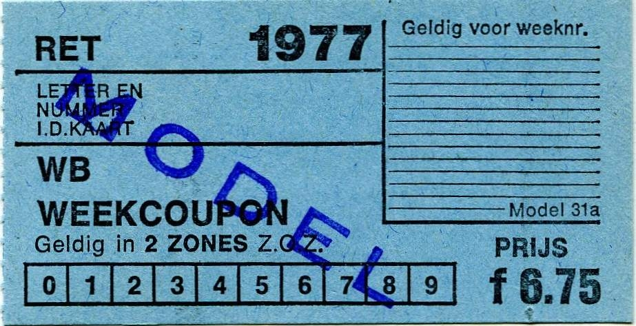 RET 1977 weekcoupon 2 zones 6,75 (31a) -a