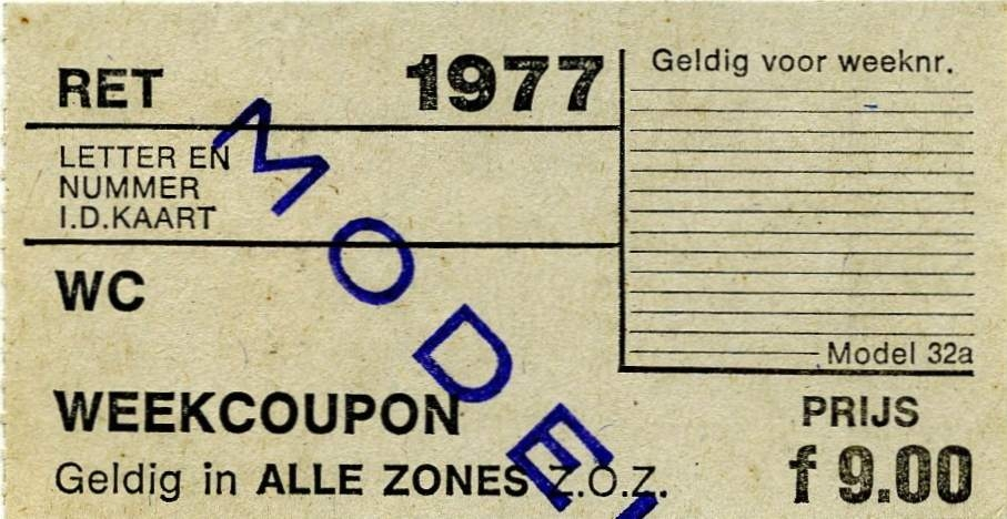 RET 1977 weekcoupon alle zones 9,00 (32a) -a
