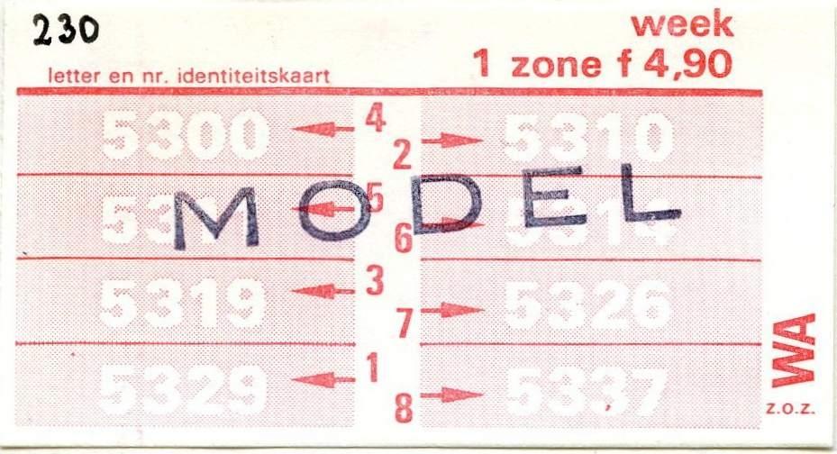 RET 1977 weekkaart 1 zone 4,90 -a
