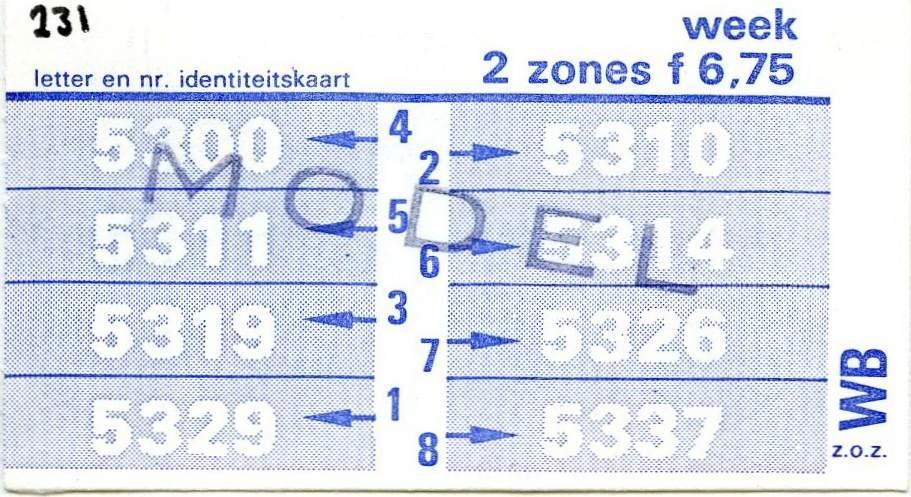 RET 1977 weekkaart 2 zones 6,75 -a