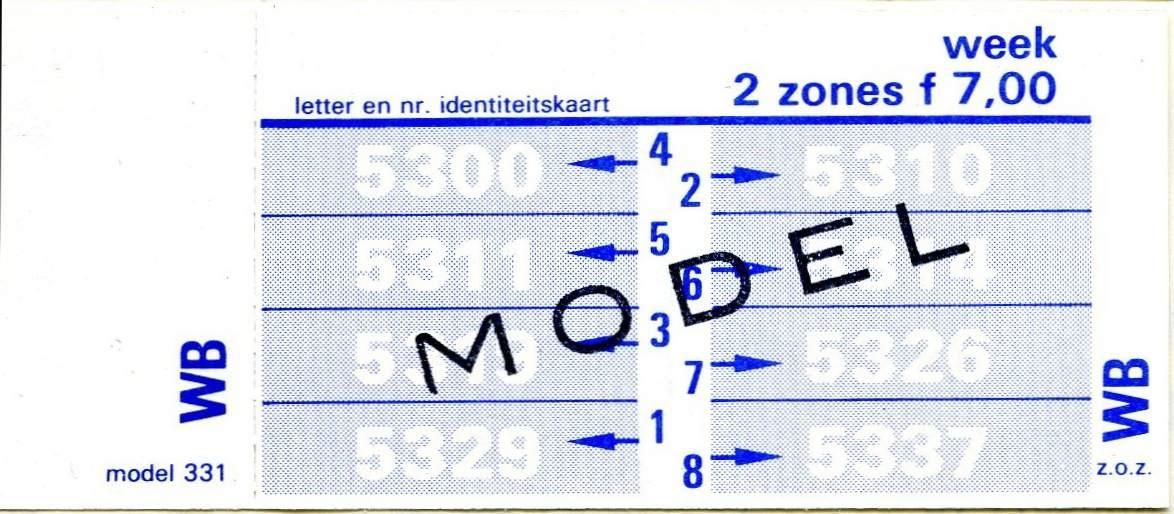 RET 1977 weekkaart 2 zones 7,00 (331) -a