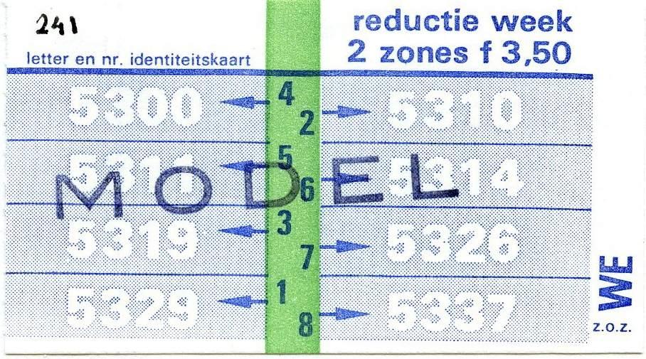 RET 1977 weekkaart 2 zones reductie 3,50 -a
