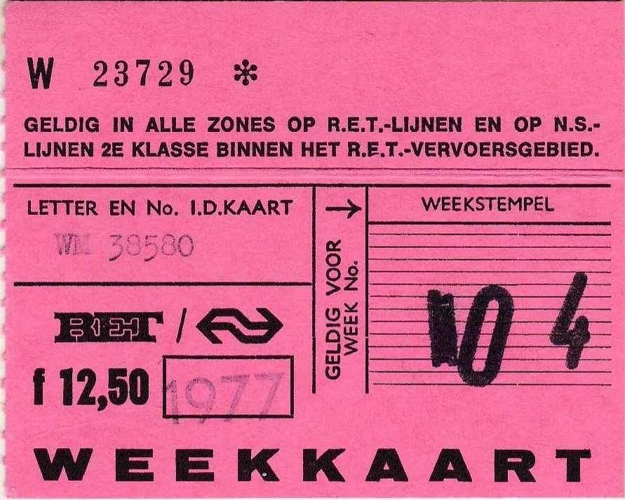 RET 1977 weekkaart alle zones 12,50  (322) -a