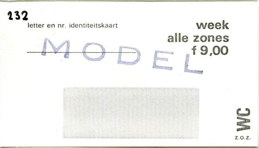 RET 1977 weekkaart alle zones 9,00 -a