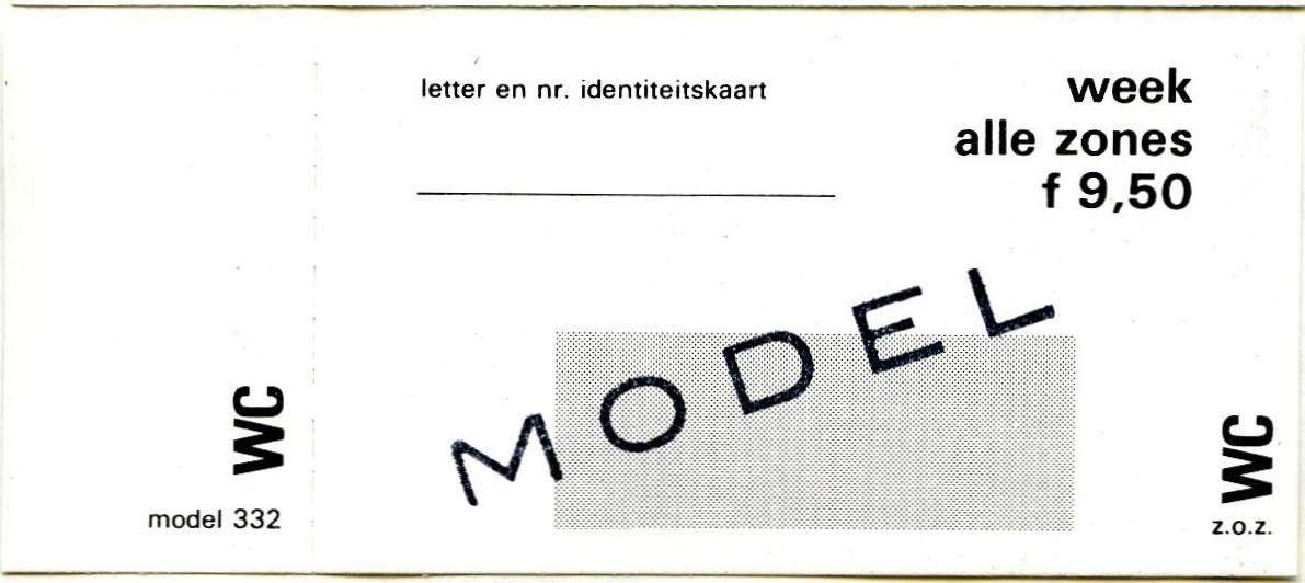 RET 1977 weekkaart alle zones 9,50 (332) -a